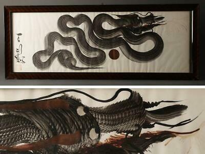Chinese Vintage Dragon Painting / W 83.5[cm] Dish Plate Vase