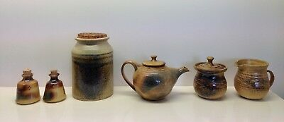 Tea Pot-Creamer-Sugar Bowl-Tea Caddy-Salt & Pepper-Glazed-Aust Pottery-Ceramic