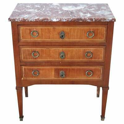 20th Century French Louis XVI Style Inlay Wood Dresser or Chest with Marble Top