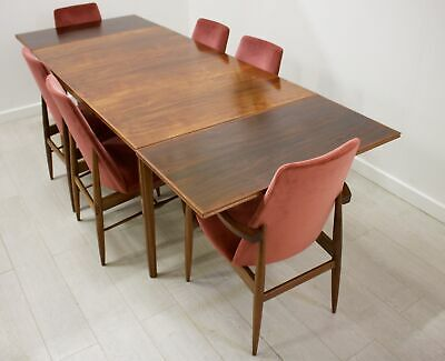 DELIVERY £60 Mid Century Walnut Extending Dining Table & 6 Chairs by Vanson
