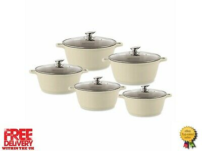 Sq Professional Die Cast Non Stick  Coated Cooking/Casserole Pot Set Cream