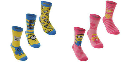 3 Pairs Official Despicable Me Socks Size 8-13 1-6 Minions Kids Boys Girls