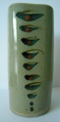 David Leach Lowerdown Studio Pottery Vase Blue Bands & Iron Red Spots L+ marks