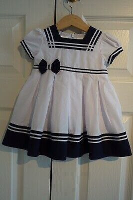 Sarah Louise Sailor Dress Age 6 Months Baby Girls White & Navy Made in England