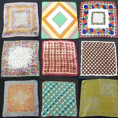 Vintage Handkerchief Hanky 1930s 1950s Printed Geometric Brightly Coloured A