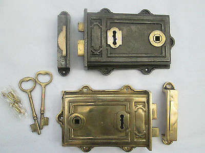 Dual handed Cast Iron & Brass Victorian Style Davenport Rim door Lock Latch