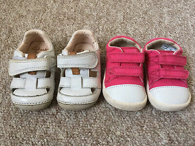 Clarks Shoes Girls 2.5f First Shoes Doodles Pink White Pre-loved