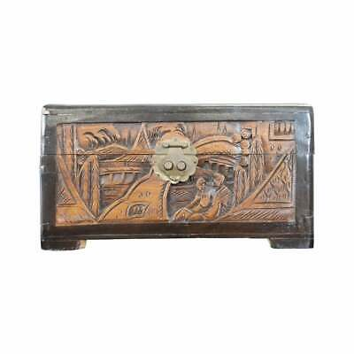 20th Century Japanese Carved Walnut Coffer or Jewelry Box