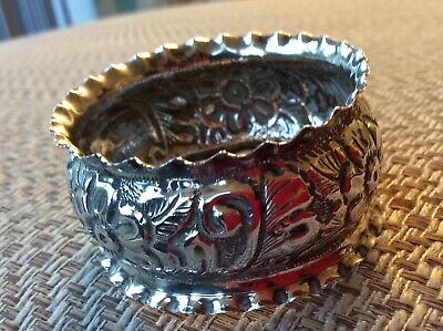 Antique Repousse Sterling Silver Elaborate Floral Napkin Ring Arthur Harris 1900