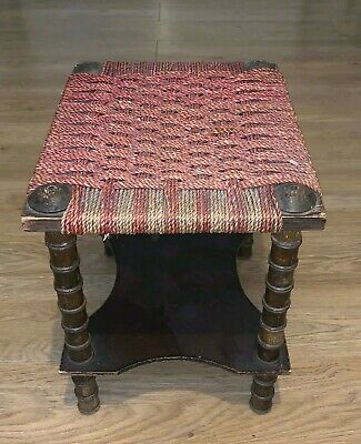 """Vintage Wooden Small Stool With Woven rattan Seat 15"""" high"""
