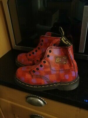 Girl's Doc Martens Red and pink check DM Boots Size Uk 1