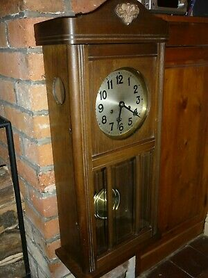 Antique 1920s German Badische Uhrenfabrik Pendulum Wall Clock (Chime & Key)