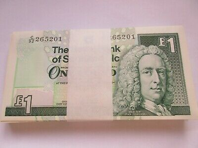ONEUNCIRCULATED Crisp One Pound £1 from Consecutive notes Royal Bank of Scotland