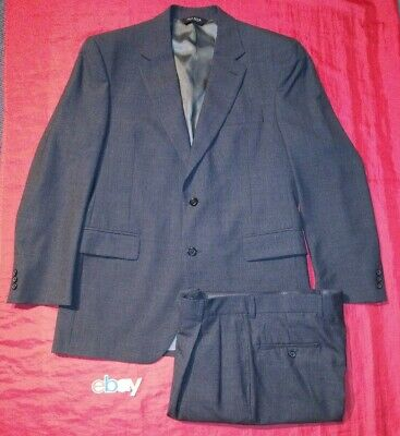 Jos. A Bank Sz 41R JACKET 33X30 PLEATED PANTS GRAY MICRO CHECK 2 Pc Men Suit NEW