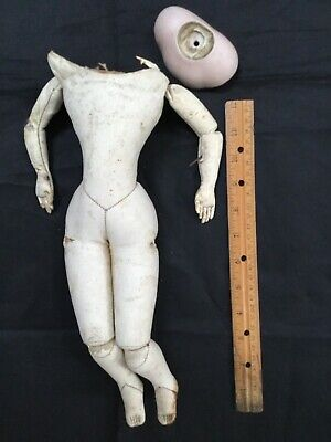 Antique French fashion doll body plus a bisque shoulder plate As-is