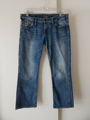 womens blue SILVER FRANCES jeans capri crop cropped ankle straight W30 30