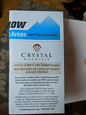 Crystal Mountain 2 for 1 Lift Ticket Voucher