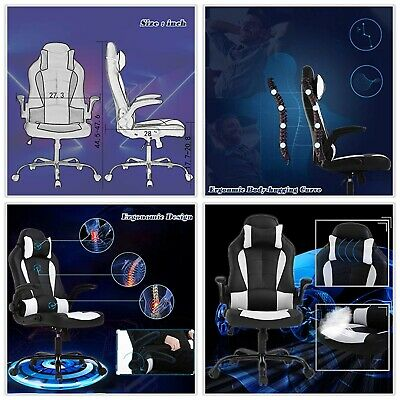 High Back Office Racing Gaming Chair Leather Reclining Executive Task Computer