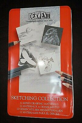 Derwent Sketching Collection Tin Set of 12 Graphite, Charcoal, Sketching Pencils