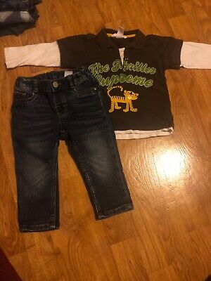h&m boys jeans and long sleeve top outfit age 9-12 months