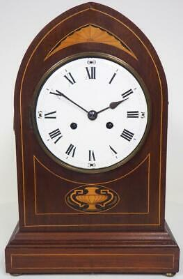 "Antique Lancet Inlaid Bracket Clock 17"" Striking 8 Day Mantel Clock C1900 Works"