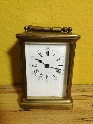 Vintage 1980's French Brass Glass Carriage Clock