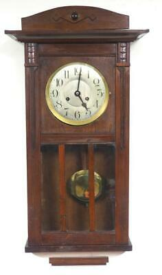 Antique Art Deco Wall Clock Mahogany 8 Day Box Striking Drop Wall Clock C1920