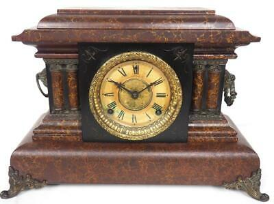 Antique Mock Marble Mantel Clock 8 Day Striking Mantle Clock Stepped Case C1900