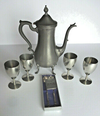 Lot of 4 Holland Group, Metawa Pewter Goblets, WEB 1136 Teapot, Spoons, Lighter