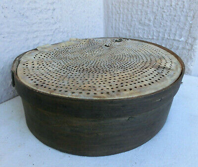 ANTIQUE PRIMITIVE bentwood WOODEN FLOUR SIEVE SIFTER w/ LEATHER STRAINER BOTTOM