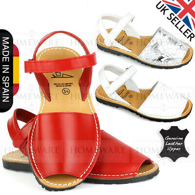 Girls Leather Spanish Menorcan Sandals White Silver/White Red Size Kids 3.5-2Uk