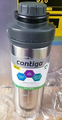 Contigo Shake & Go Fit Thermalock Bottle 24oz Gray Black Insulated Stainless NEW