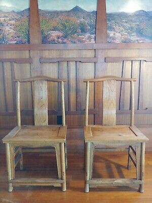 Pair of Antique Chinese High Back Elm wood Side Chairs, Antique Asian 1850s