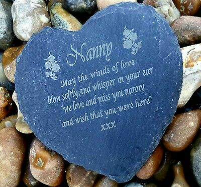 Personalised Engraved Slate Stone Heart grandad Memorial Grave Marker Plaque