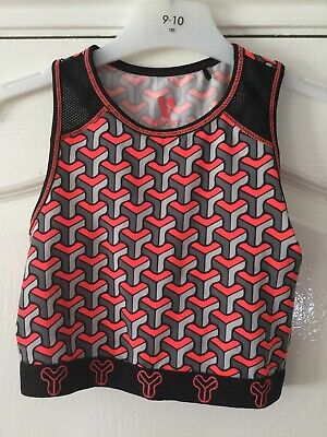 Bnwot Girls Cropped Sports Exercise Top Grey & Bright Coral By Very Age 9-10 Yrs