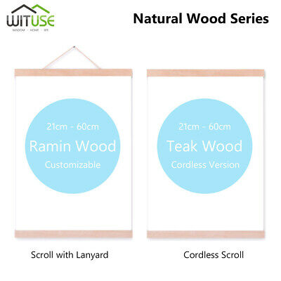 Magnetic Wooden Photo Picture Frame Wall Poster Scroll Prints Artwork Hanger 63