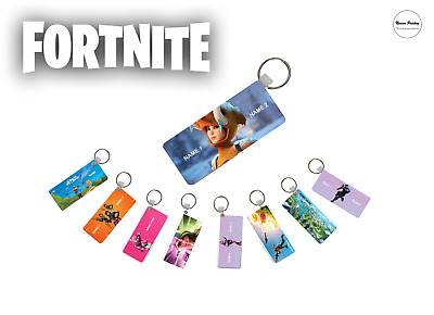 Personalised Bag Tag Keyring Fortnite Design Single Sided Print Add Name Gift