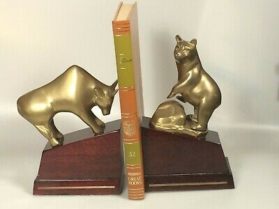 brass bull and bear bookends Nasdaq stock trader gift office organization
