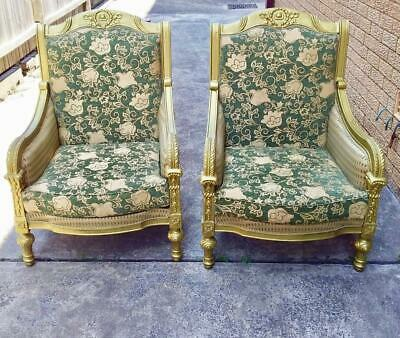Pair Of Large French Louis Xv Style Carved Bergere Gold Painted Armchairs.