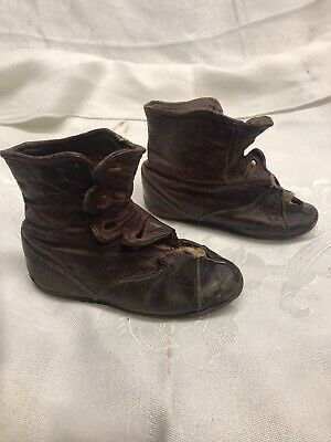 Antique leather button shoes boots baby child toddler