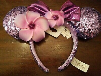 2019 Disney Aulani Hawaii Minnie Ears Headband Plumeria exclusive floral purple