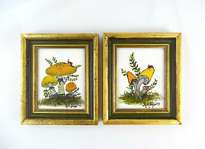 2 Small Vintage 1970's Framed Mushroom Oil Paintings On Canvas Sign & Dated