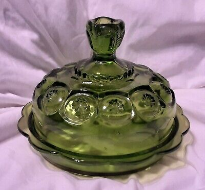 Green Depression Glass Large Round Butter/Candy Dish