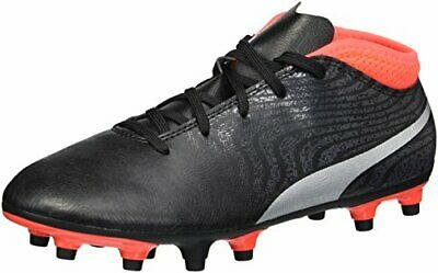 PUMA Girls Kids One 18.4 FG Jr Soccer Shoes Black Silver Red Blast 5.5 M US
