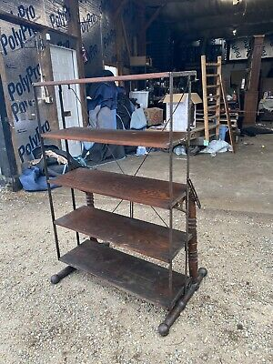 Antique Oak Country Store Folding Bakers Rack Combination Table FREE SHIPPING