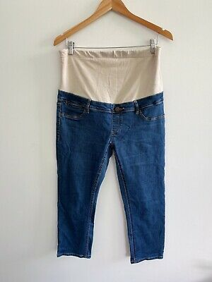Jeanswest Women's Maternity Capri Jeans Size 12 Blue Over Belly Band