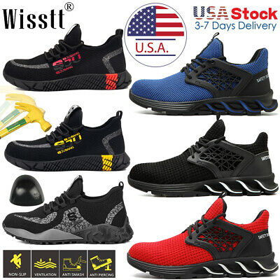 Mens Safety Sport Shoes Indestructible Steel Toe Work Boots Lightweight Sneakers