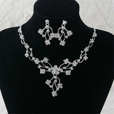 Elegant Necklace Pierced Earrings Set Crystal Rhinestone Lady Wedding Jewelry