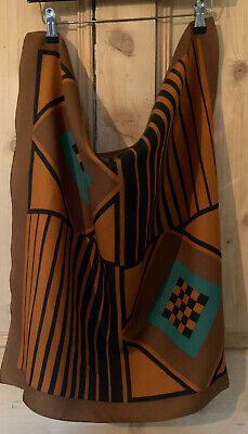 Vtg 70s Brown Stripe Check Abstract Western Hippie Festival Alexa Scarf Large