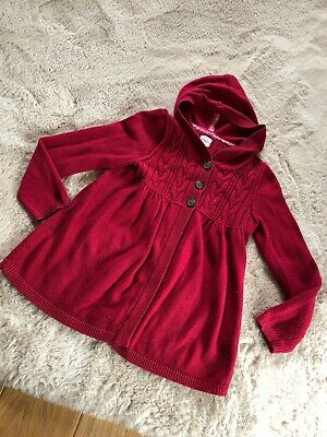 Mini Boden Red Hooded Knitted Girls Cardigan Aged 9-10yrs